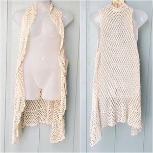 🆕 UMGEE Crochet Open Knit Maxi Layering Cardigan